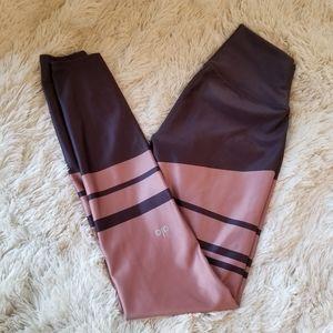 Alo pink and purple striped leggings medium
